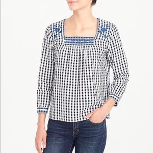 J. Crew Factory Gingham Embroidered Peasant Top 💙